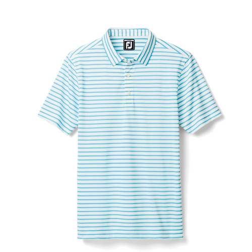 FootJoy Junior Striped Pique Polo - White / Light Blue (26637)