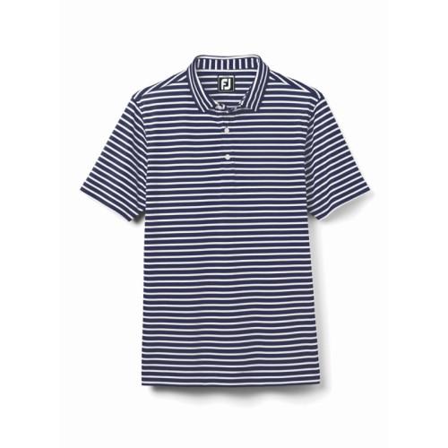 FootJoy Junior Striped Pique Polo - Navy / White (29501)