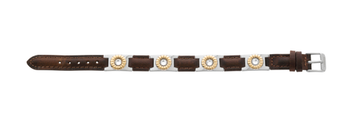Sabona Brown Leather Gem Duet Magnetic Bracelet