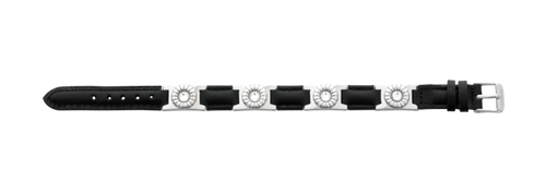Sabona Black Leather Gem Stainless Magnetic Bracelet