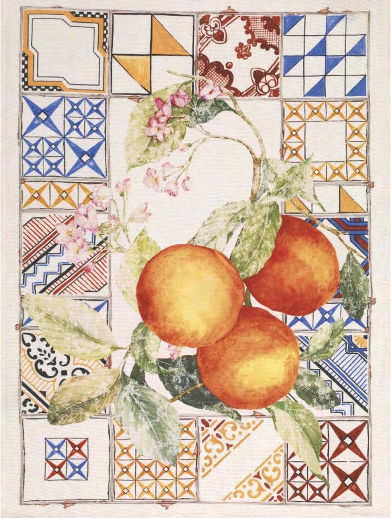 'Azulejos Arancio' Orange Kitchen Towel