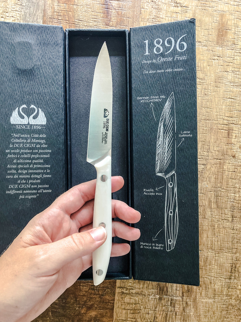 Due Cigni White POM Handle Paring Knife