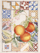 'Azulejos Arancio' Orange Kitchen Towel