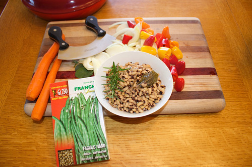 Dried beans should be soaked then cooked for about an hour before mixing with chopped, sauteed vegetables.