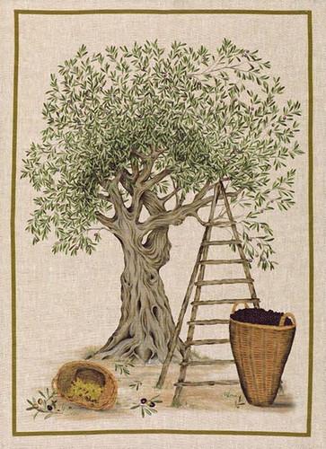 Olive Tree Kitchen Towel Green