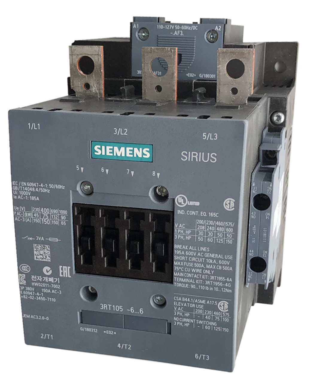 Conventional Coil Screw Terminals Siemens 3RT10 56-6AB36-0UA0 NEMA Motor Contactor NEMA Size 4 DC 23-26V 3RT10566AB360UA0 135 Amp Rating 3 Poles 2 NC Auxiliary Contacts AC 40-60Hz 2 NO