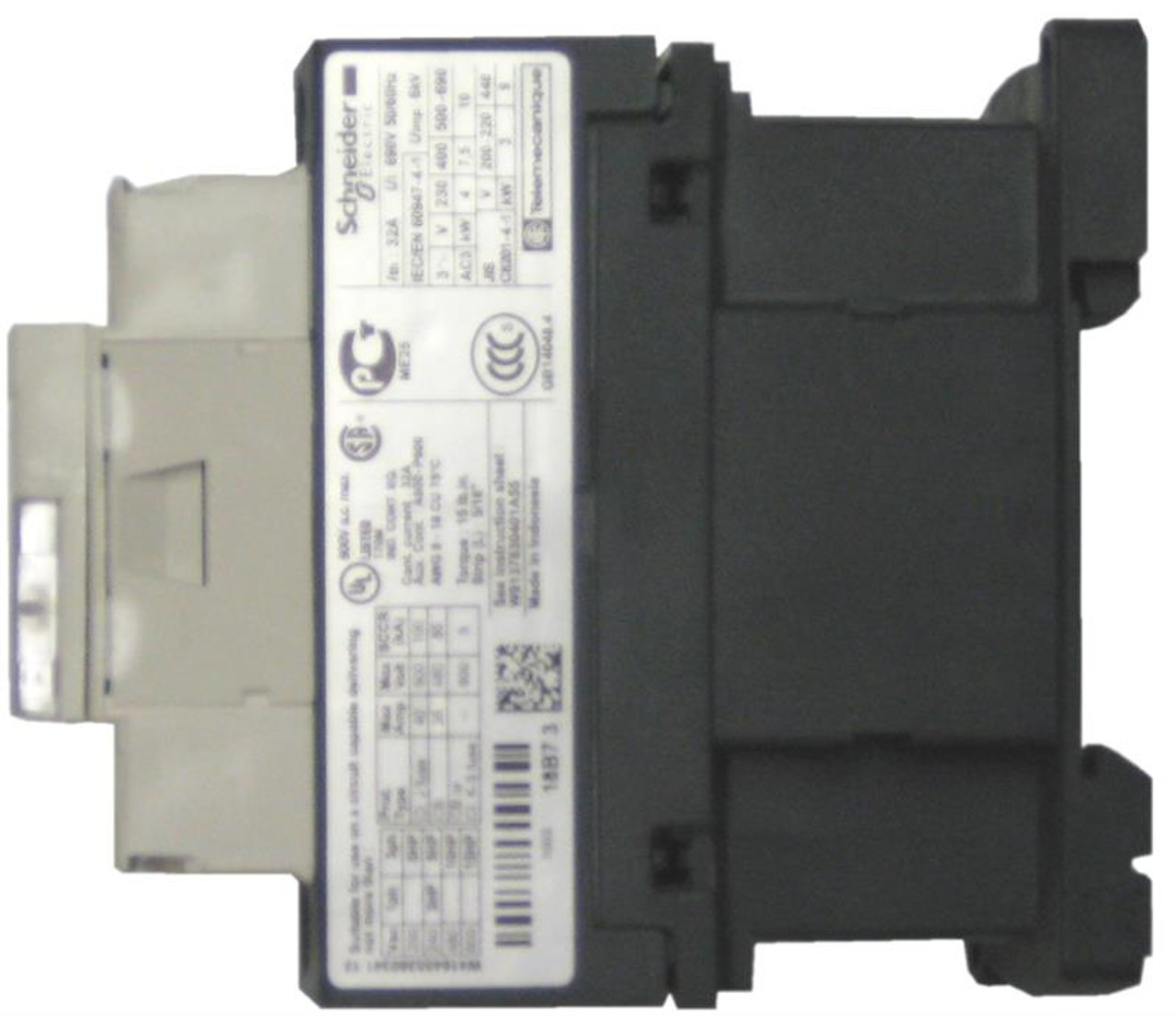 Schneider Electric LC1D18LE7 side label