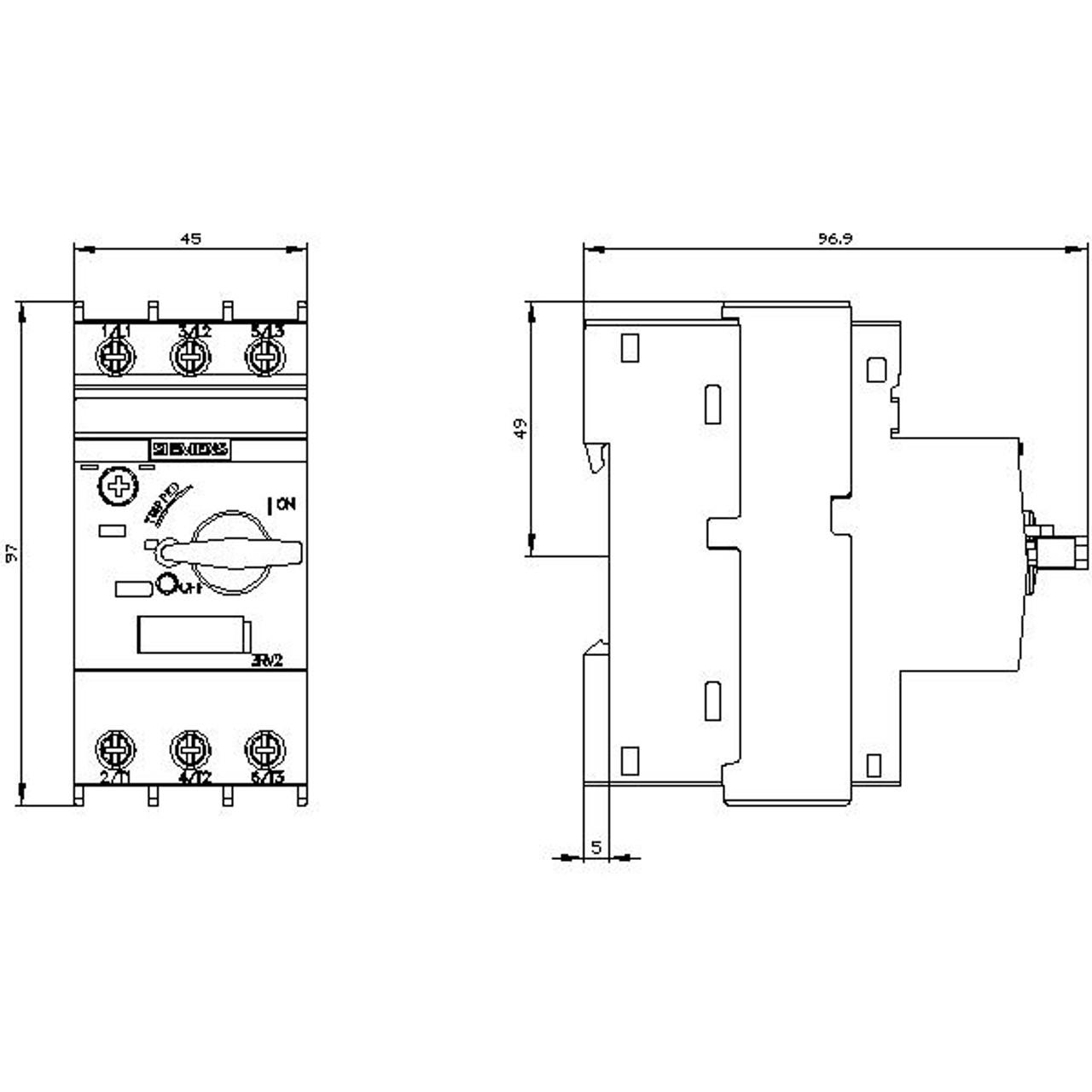 Class 10 Overload Trip Siemens Sirius 3RV20214DA10 Motor Starter Protector Screw Terminal Manual Motor Starter Size S0 18 to 25A FLA Adjustment Range