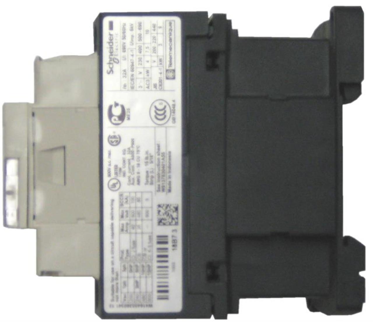 Schneider Electric LC1D18E7 side label