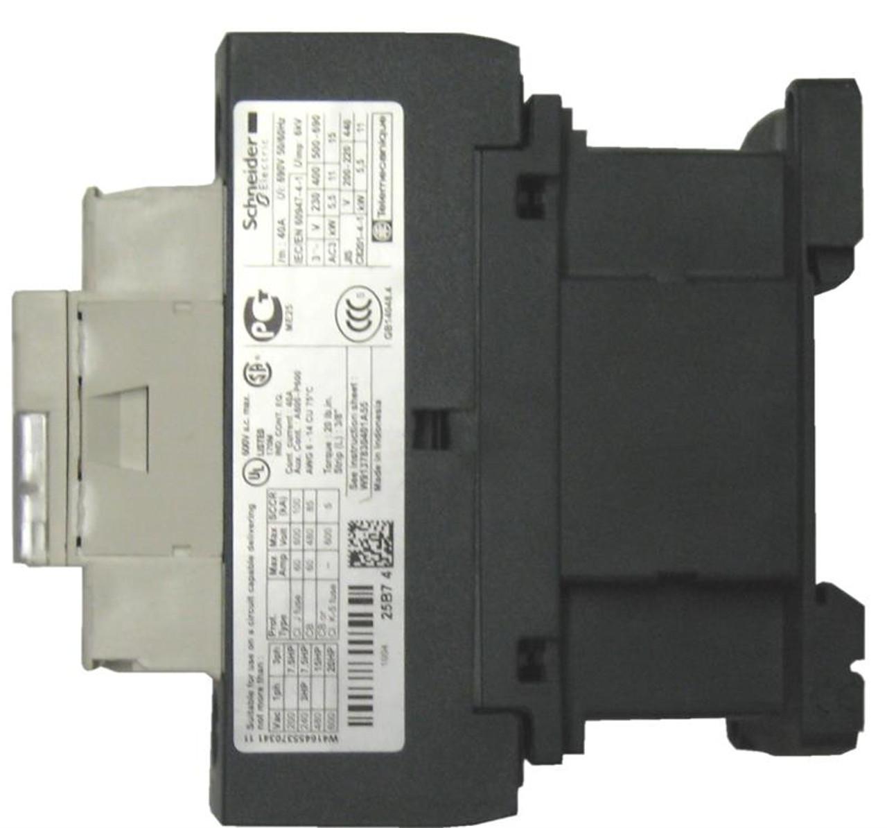 Schneider Electric LC1D25E7 side label
