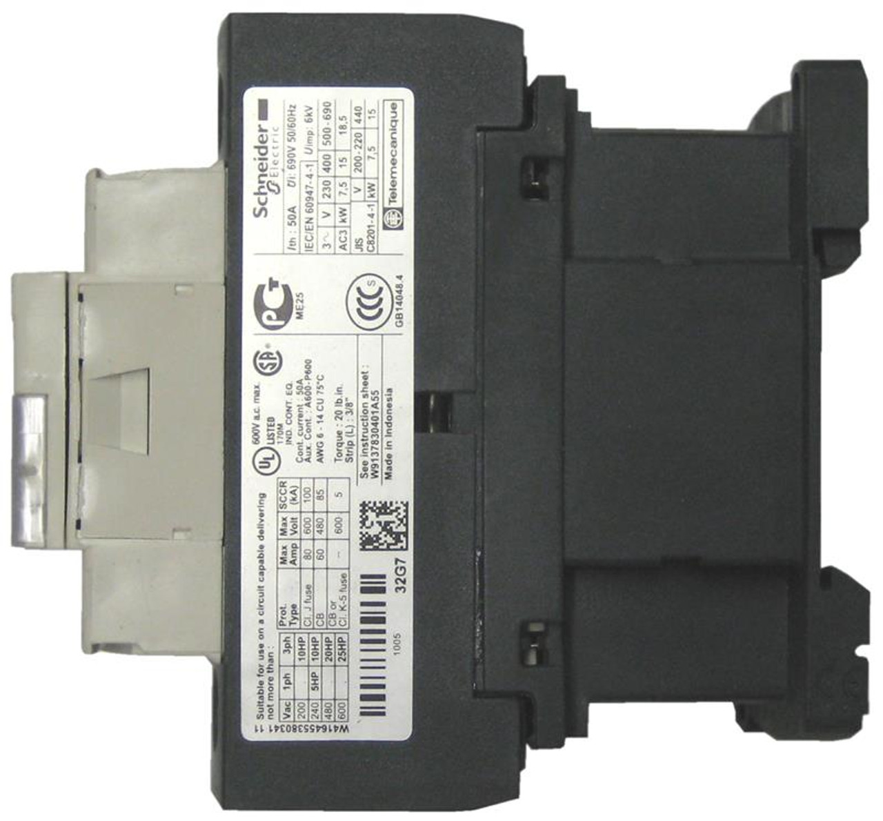 Schneider Electric LC1D32R7 side label