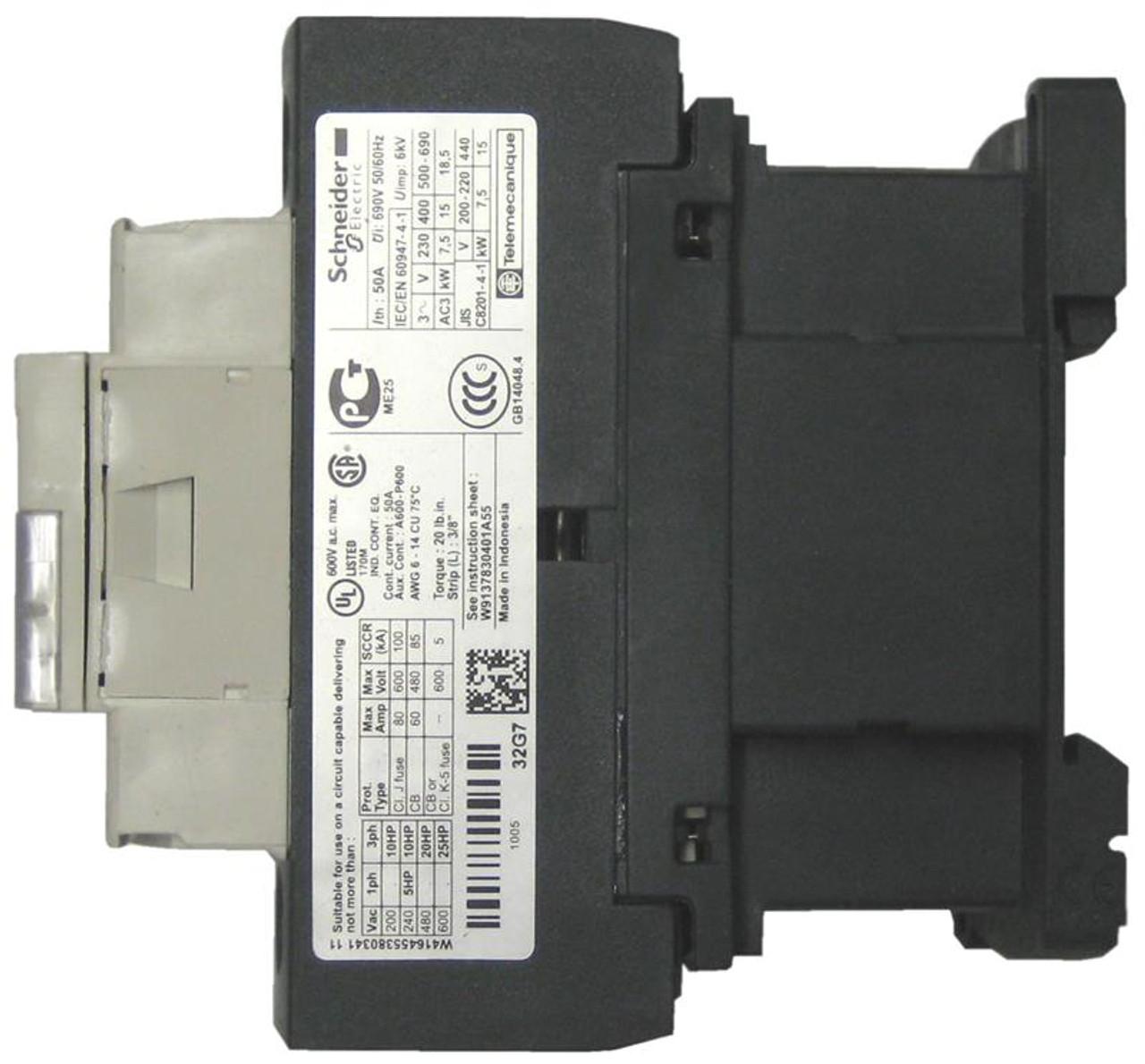 Schneider Electric LC1D32E7 side label