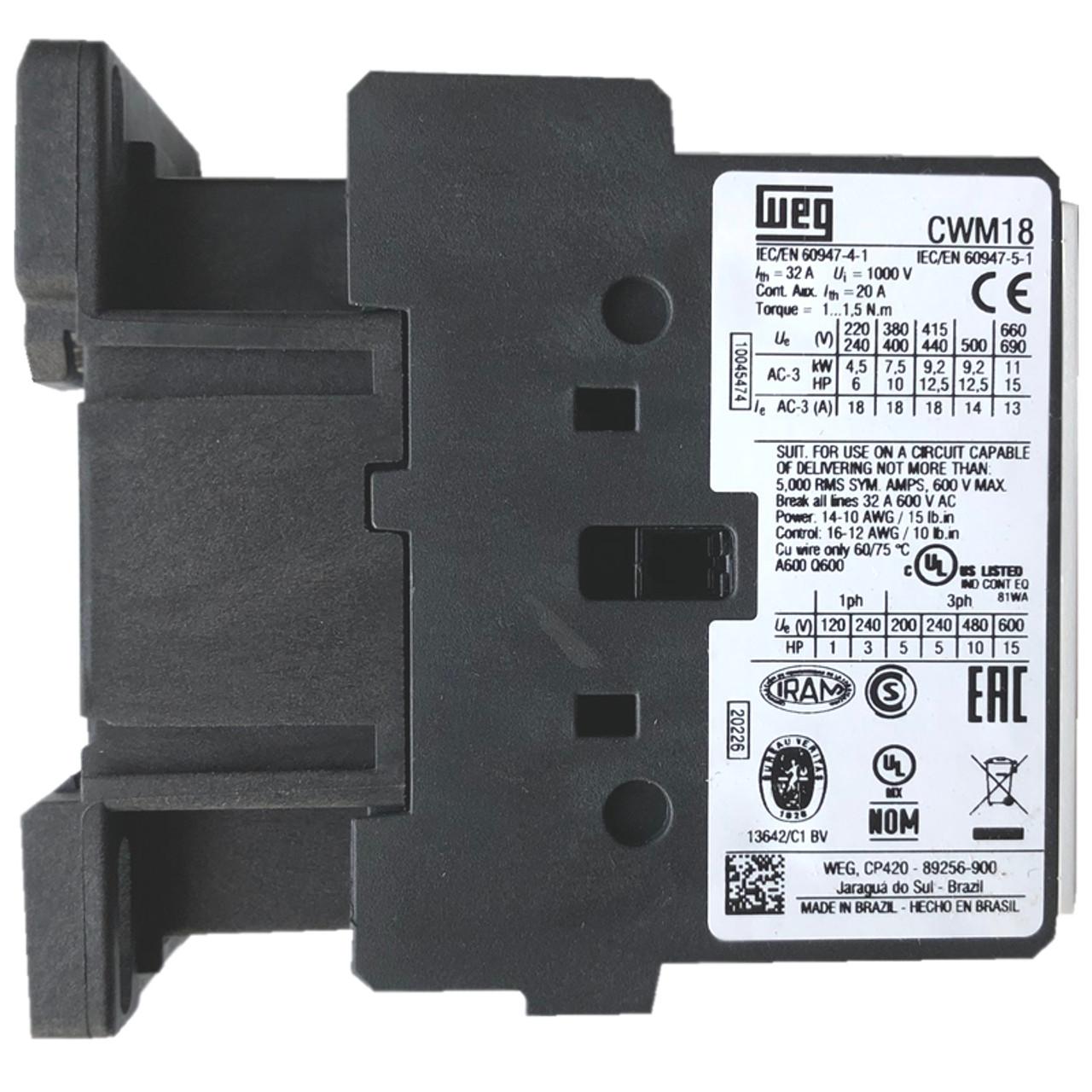 WEG CWM18-10-30V10 side label