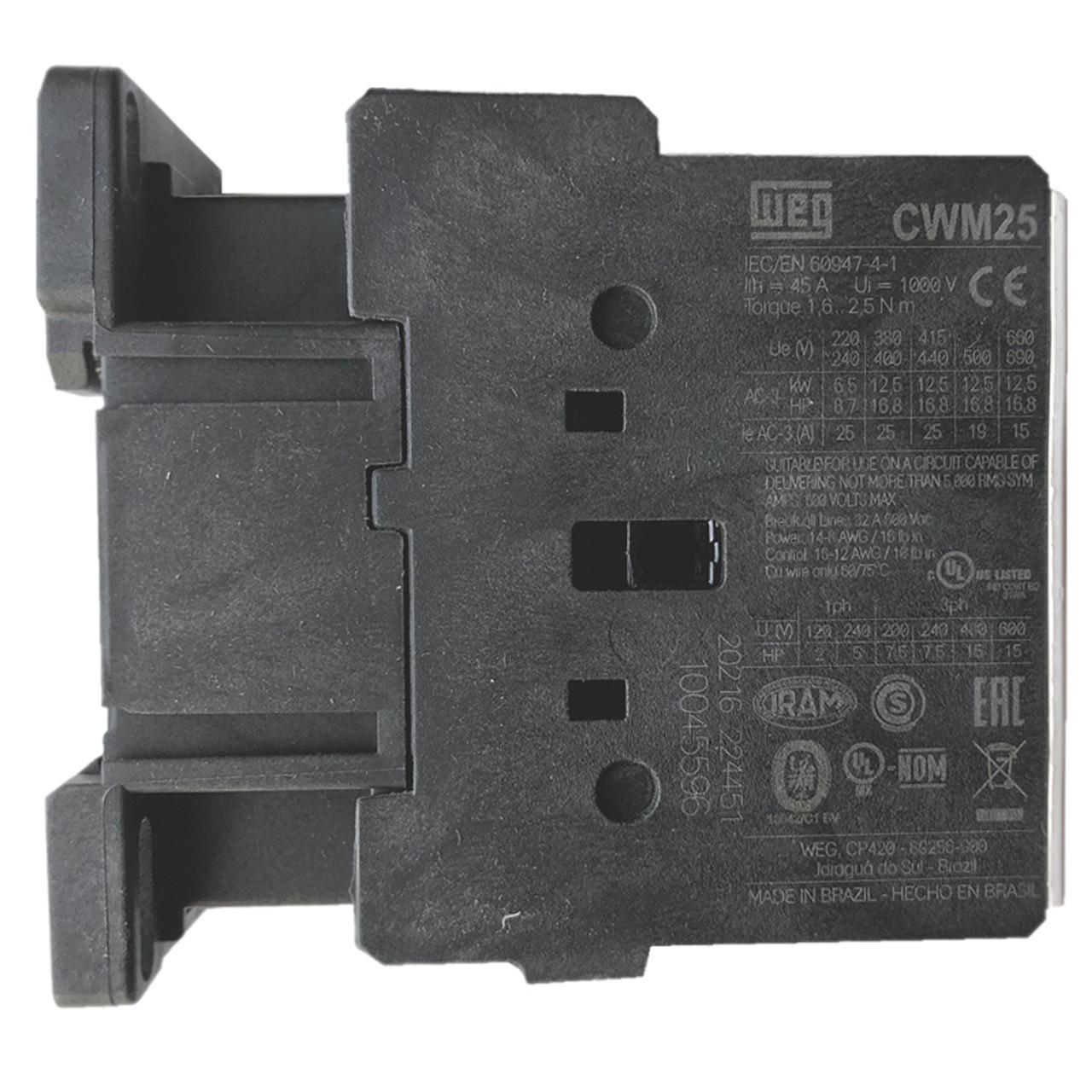 WEG CWM25-00-30V37 side label