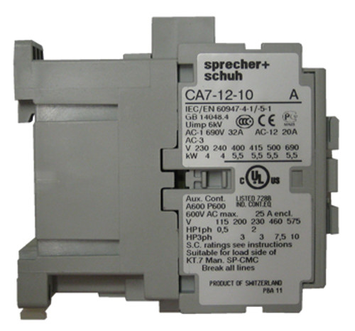 CA7-12-10 120 volt AC contactor side view