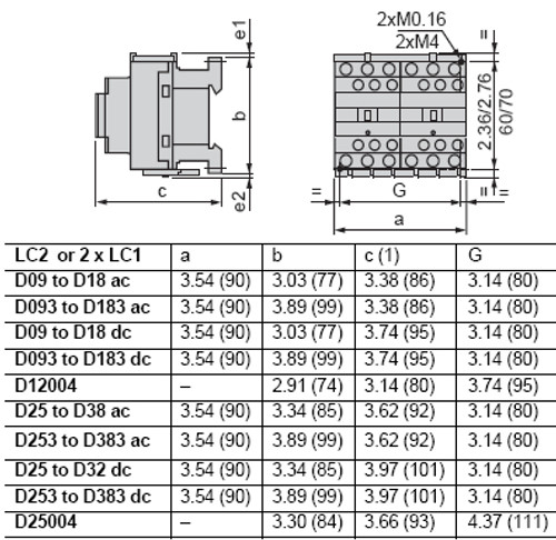 Schneider Electric LC2D32G7 dimensions