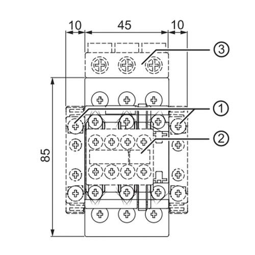 3RT2026-1A + 3RU2126-1DB0 Front Dimensions