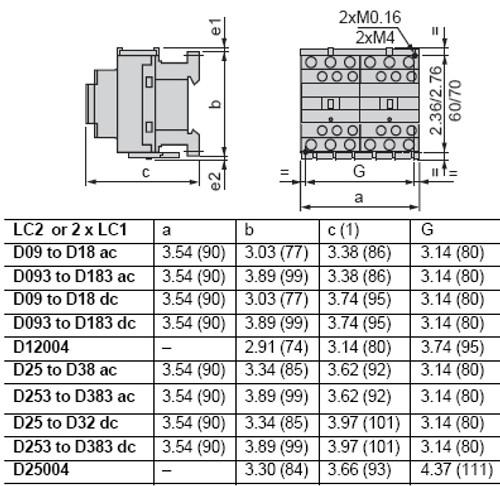 Schneider Electric LC2D09E7 dimensions