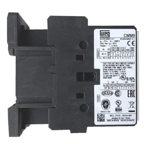 WEG CWM9 10E side label