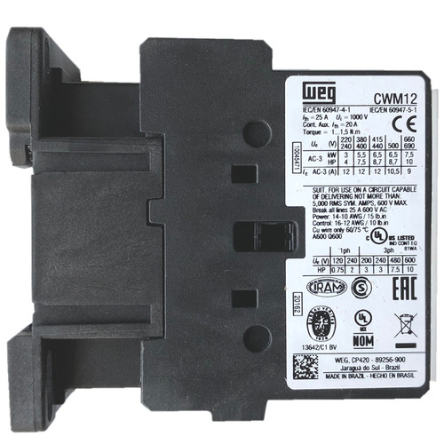 WEG CWM12 10E side label