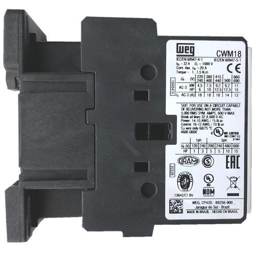 WEG CWM18 10E side label