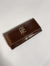 CAROLINA HERRERA BROWN PATENT WALLET
