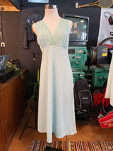 GREEN LONG SLIP DRESS