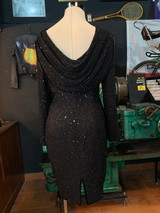 BLACK CASCADE BACK SEQUIN DRESS