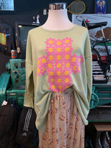 FLORAL CROSS KNIT GREEN SWEATER