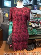 BURGUNDY FLORAL SEQUIN DRESS