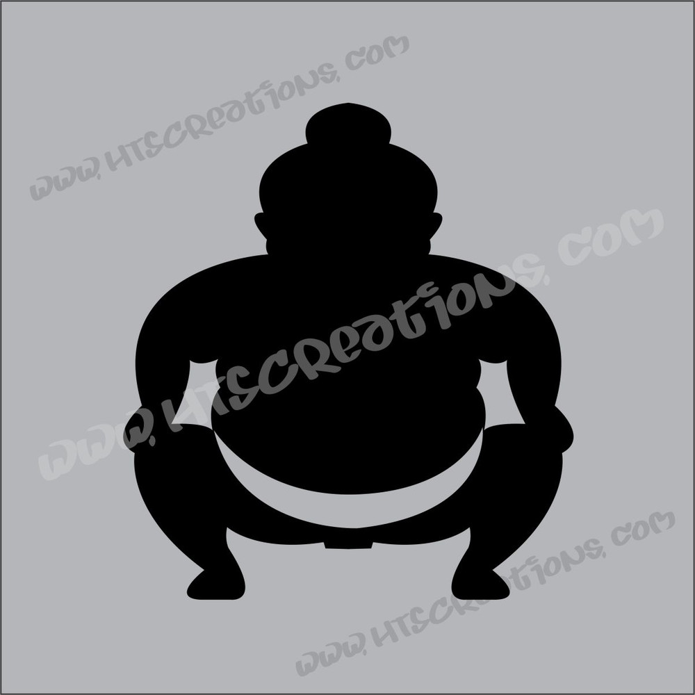 Sumo Wrestler Japanese Vinyl Decal BLACK