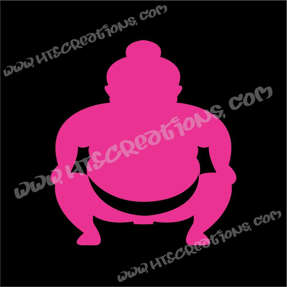 Sumo Wrestler Japanese Vinyl Decal HOT PINK