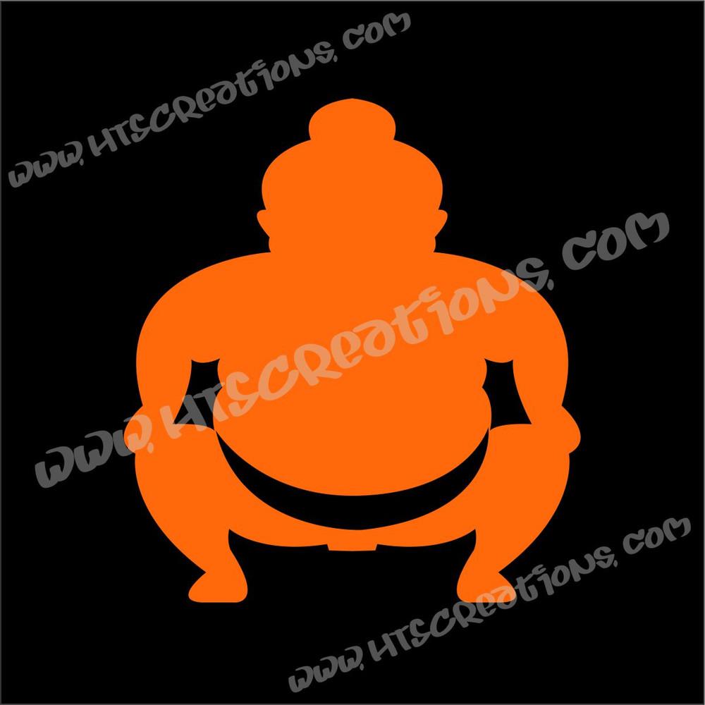 Sumo Wrestler Japanese Vinyl Decal ORANGE