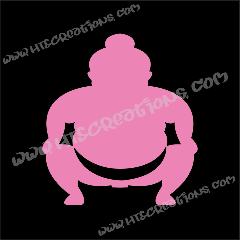 Sumo Wrestler Japanese Vinyl Decal LT PINK