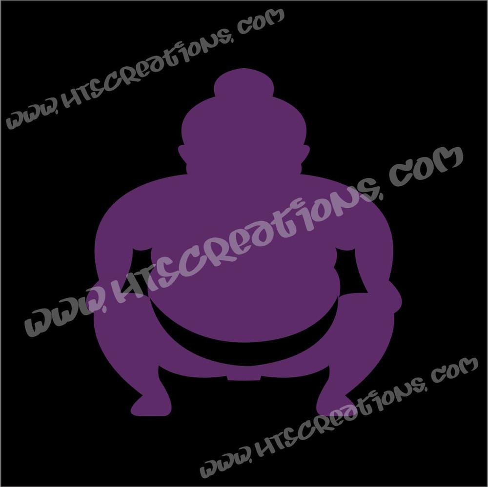 Sumo Wrestler Japanese Vinyl Decal PURPLE