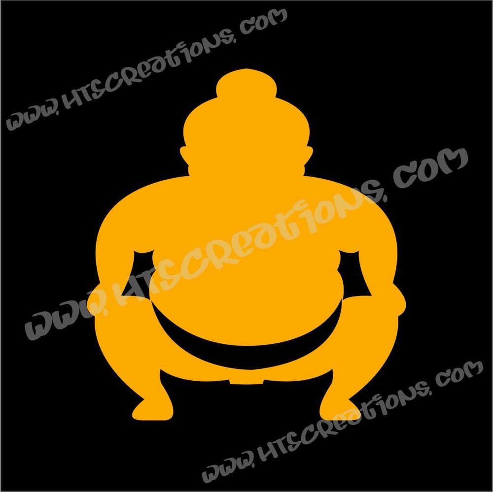 Sumo Wrestler Japanese Vinyl Decal GOLDEN YELLOW