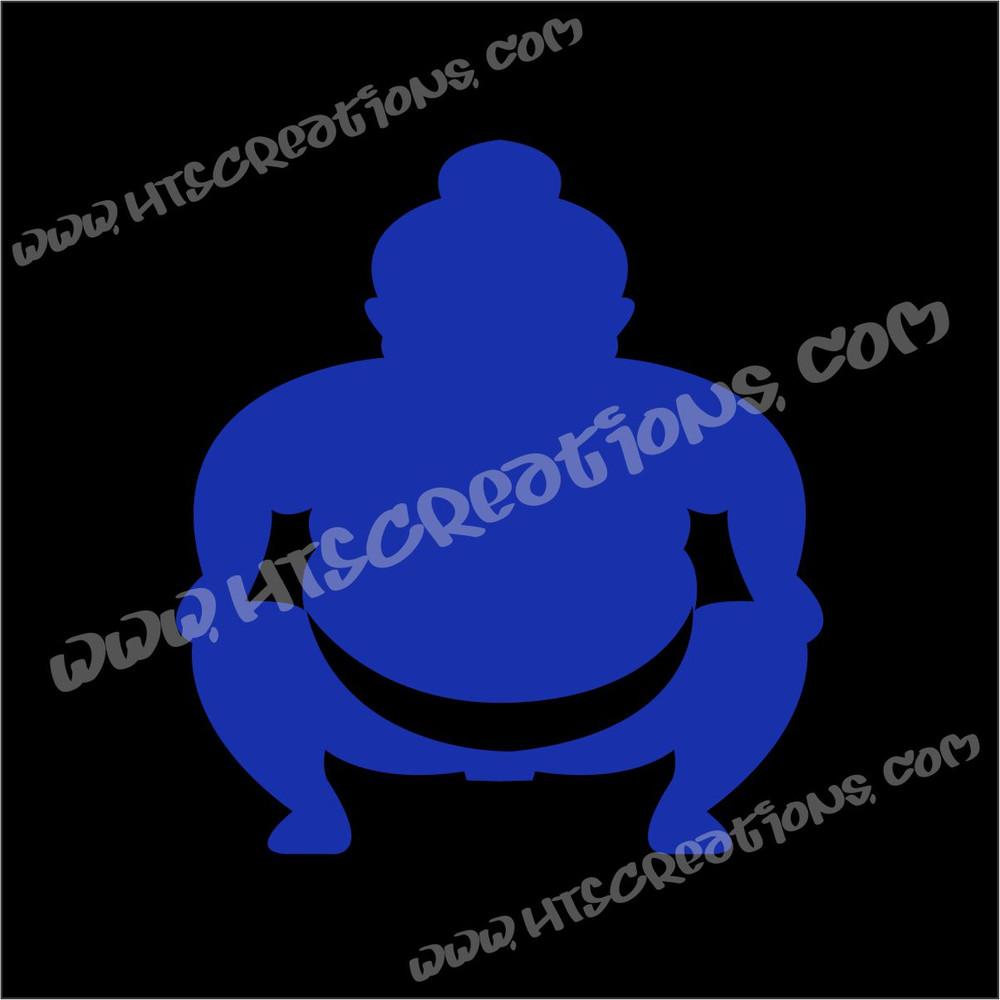 Sumo Wrestler Japanese Vinyl Decal ROYAL BLUE