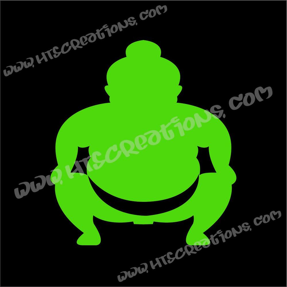 Sumo Wrestler Japanese Vinyl Decal LIME