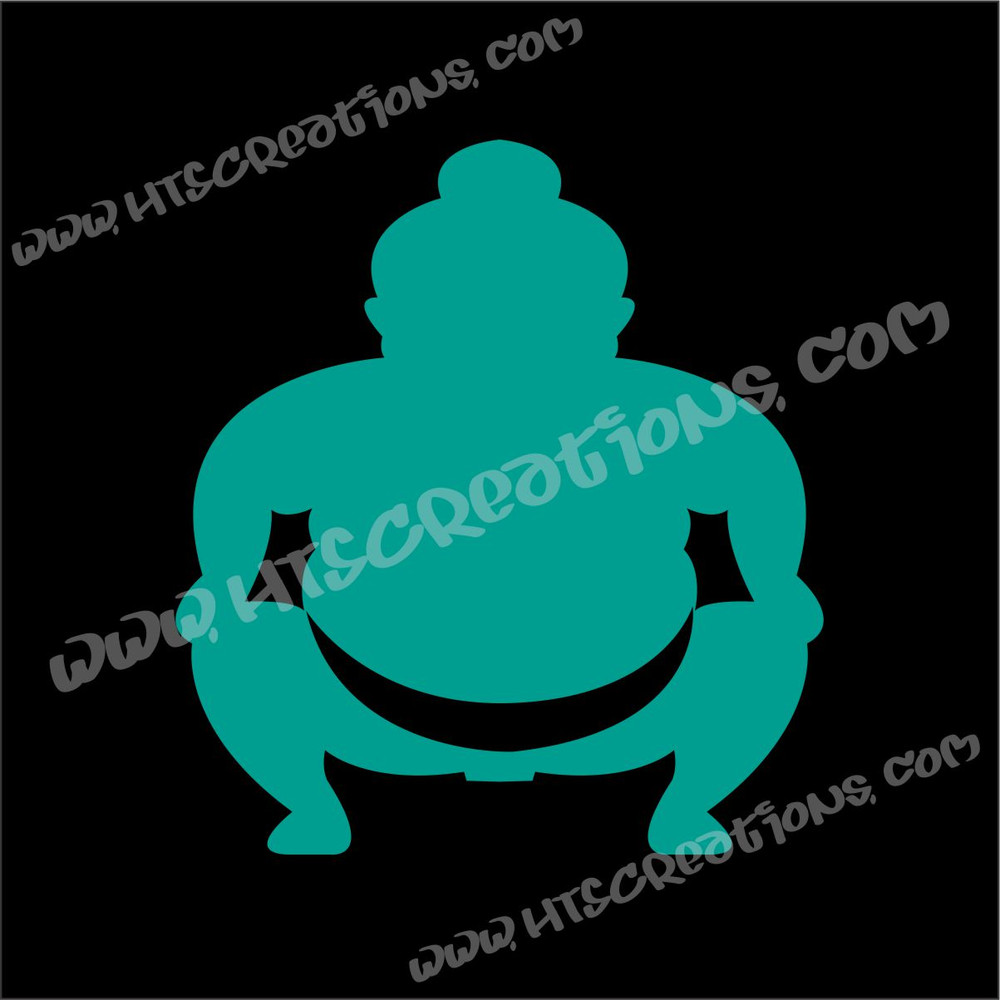 Sumo Wrestler Japanese Vinyl Decal TEAL