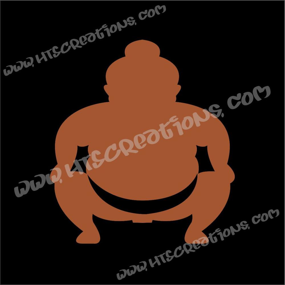 Sumo Wrestler Japanese Vinyl Decal NUT BROWN