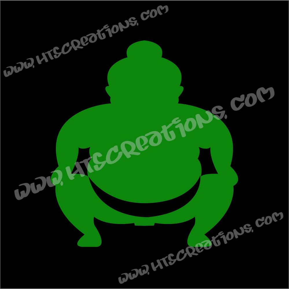 Sumo Wrestler Japanese Vinyl Decal KELLY GREEN