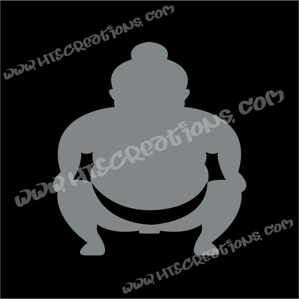 Sumo Wrestler Japanese Vinyl Decal GREY
