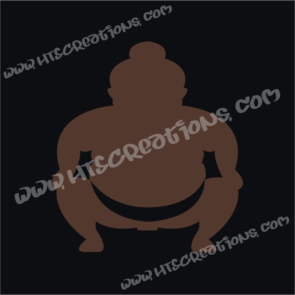 Sumo Wrestler Japanese Vinyl Decal DARK BROWN