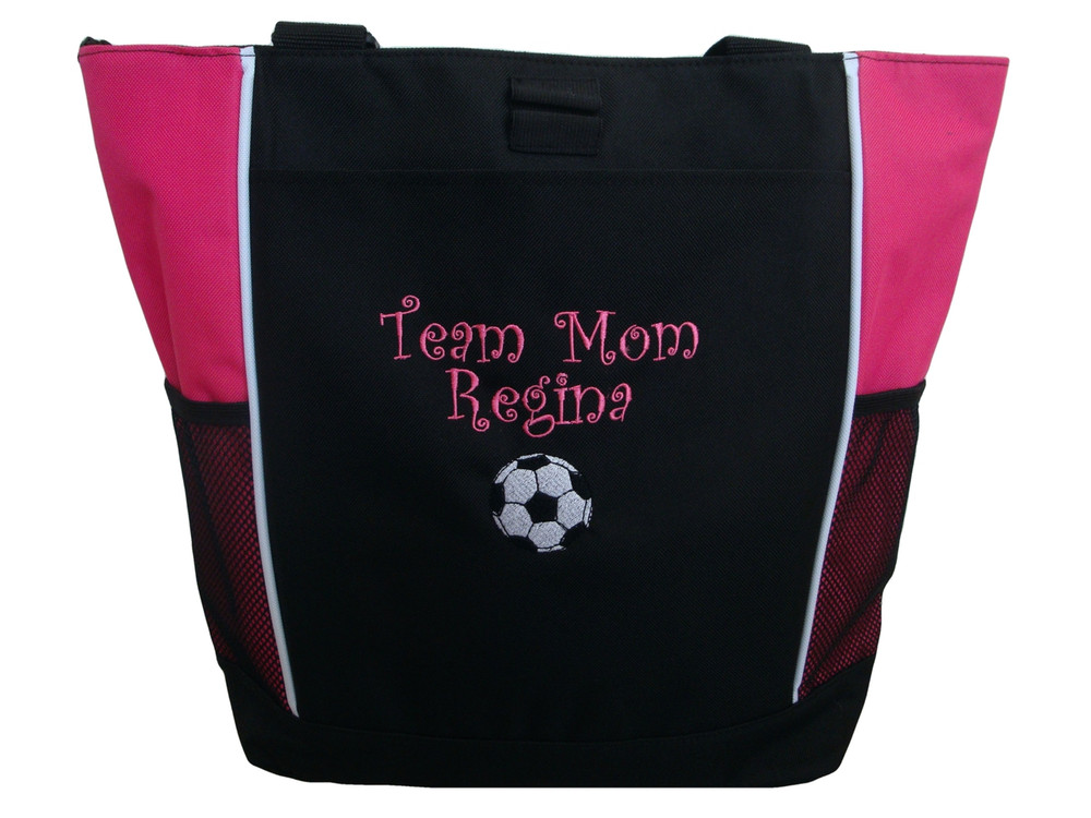 Soccer Ball Sports Custom Personalized Tote Bag Hot Pink Curlz Font