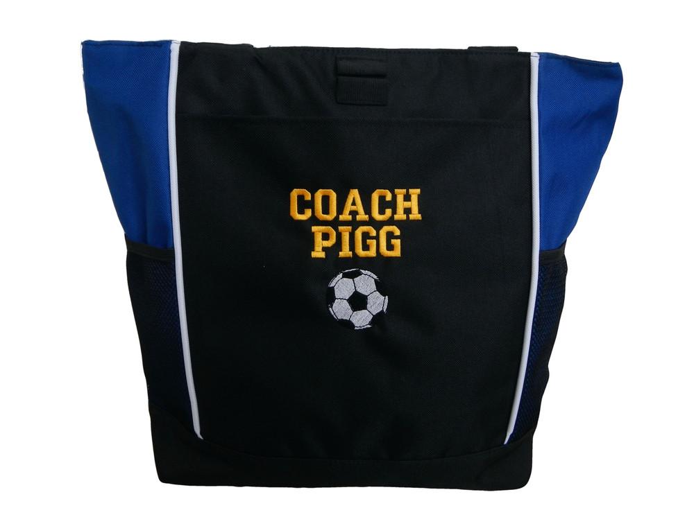 Soccer Ball Sports Custom Personalized Tote Bag Royal Blue VARSITY Font