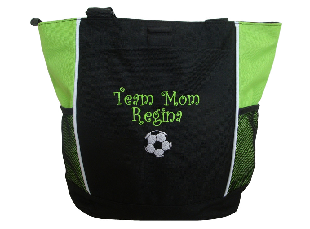 Soccer Ball Sports Team Mom Custom Personalized Tote Bag Lime Green Curlz Font