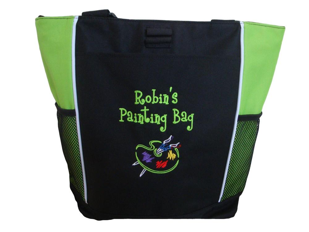 Art Artist Painting Palette Teacher Personalized Bag Lime Green Font Style Girlz