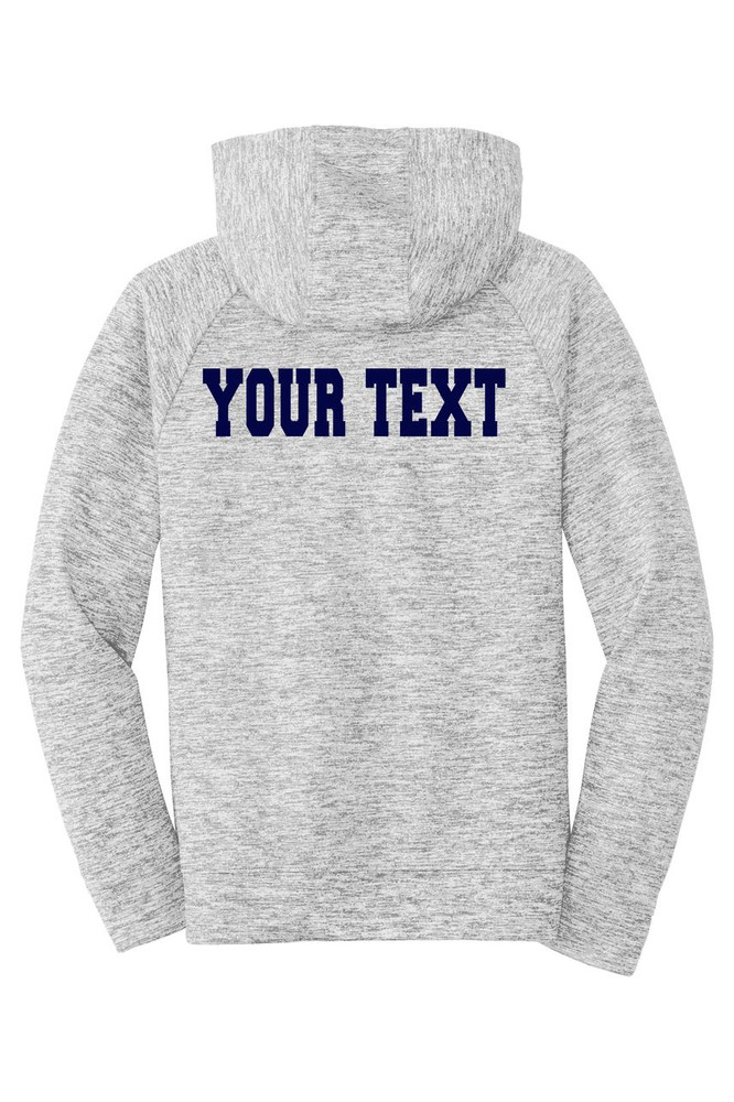 Urbana Hawks FIELD HOCKEY Hoodie Performance PosiCharge Electric Heather Fleece Pullover Sweatshirt Many Colors Available YOUTH Sizes S-XL  SILVER ELECTRIC BACK PERSONALIZED