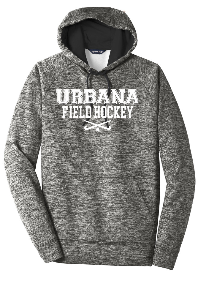 Urbana FIELD HOCKEY Hoodie Performance PosiCharge Electric Heather Fleece Pullover Sweatshirt Sticks Many Colors Available Sizes XS-4XL  BLACK ELECTRIC