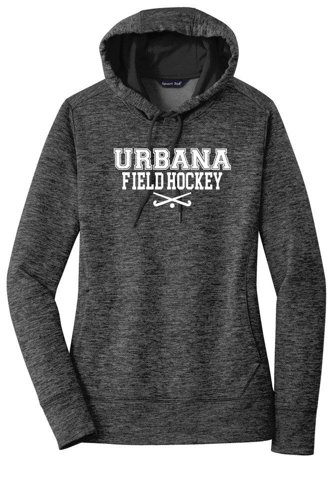 Urbana FIELD HOCKEY Hoodie Performance PosiCharge Electric Heather Fleece Pullover Sweatshirt Sticks Many Colors Available LADIES Sizes XS-4XL  GREY/BLACK ELECTRIC